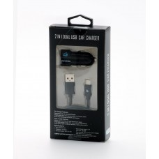 2 in 1 Car Charger-Type C-Black-White 2.4 Amp.