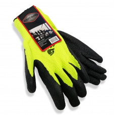 Green Cotton Thermal Gloves with Black Latex (pack of 10)