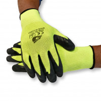 Green Polyester Gloves with Black Latex (pack of 12)