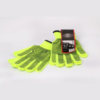 Neon Green Polyester Gloves with Black Dots (pack of 10)