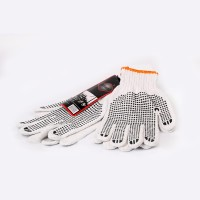 White Polyester Gloves with Black Dots (pack of 10)