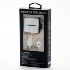2 in 1 Home Charger-Type C-Black-White 2.4 Amp.