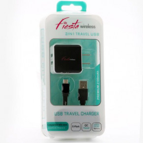 2 in 1 Dual USB Home Charger-Micro USB (2.1 Amp.)